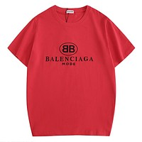 Balenciaga fashion couple printed short sleeve tops are hot sellers of casual t-shirts Red