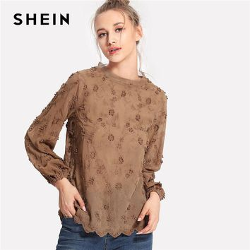 Camel Flower Embroidery Applique Blouse