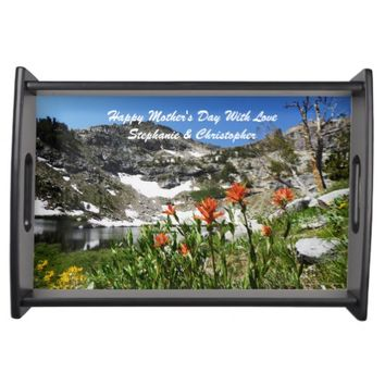 Personalized Happy Mothers Day Mountains Flowers Serving Tray