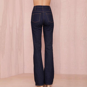 Women Slim Flare Jeans with Vintage Design