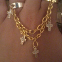 Bohemian Gold Cross Chain Ring