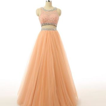 Two Piece Long Evening Dresses Evening Dress New Scoop Fashion Formal Gowns Chiffon Beaded