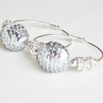 Silver Disco Ball Hoop Earrings by StrictlyCute on Etsy