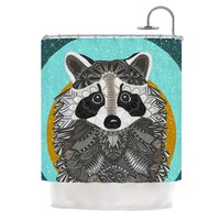 "Art Love Passion ""Racoon in Grass"" Gray Teal Shower Curtain - Outlet Item"
