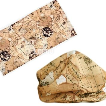Map Style Polyester Scarves Outdoor Sports Bandana Scarf Camping Cycling Headwear Hiking Washouts Magic Hunting Headwear Scarves