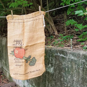 Vintage Burlap Grocery Shopping Drawstring Bag Made In Bangladesh