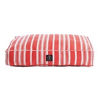 Personalized Classic Stripe Rectangle Dog Bed | Red