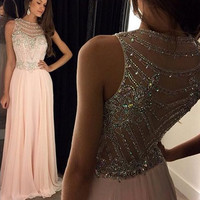 Backless Pink Prom Dress,High Neck Prom Dresses,Evening Dresses