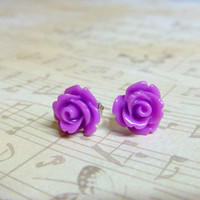 Purple Magenta Flower Post Earrings