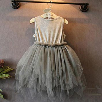 Kids sleeveless vest dress Flower Girls Kids Toddler Baby Princess Party Pageant Wedding Tulle Tutu Dresses