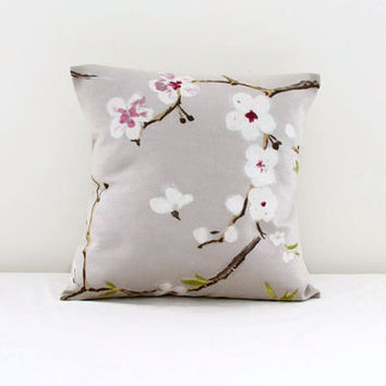 Cherry blossom pillow cover, small cushion cover in Prestigious Emi fabric, beige 100% cotton, blossom flower print, handmade in the UK