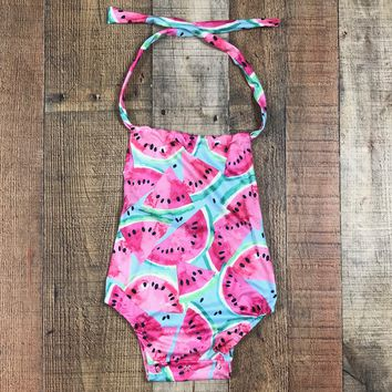 BLOW OUT! RTS Baby Girls Watermelon Tie Back Romper D37