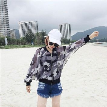 Fashion Camouflage Print Ultra Thin Hollow Long Sleeve Zip Cardigan Sunscreen Clothes Coat
