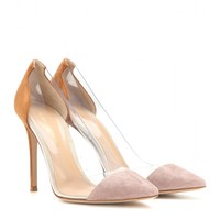 Suede and transparent pumps