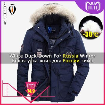 Winter Jacket Down Men Padded 4XL 2018 Thick Hood Brands Coats Parka 80% White Duck Jackets Fashion Light Warm Big Size Parkas
