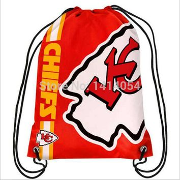 Kansas City Chiefs Drawstring Backpack 35x45CM NFL Digital Printing  Polyester Custom Sports Backpack, free shipping
