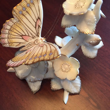 "Lovely Porcelain Lenox Ivory and gold Butterfly Collectible Figurine, ""Splendor of Spring"", Flowers and Butterfly, Mother's Day Gift."