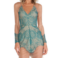 For Love & Lemons Antigua Mini Dress in Teal