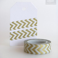 WASHI TAPE, thin chevron lines in gold, ideal christmas tape