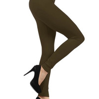 Fleece Lined Leggings Olive Green