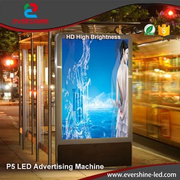 Waterproof 5mm P5 HD outdoor vedio LED display screen advertising machine for street,subway,railway stations,shopping mall