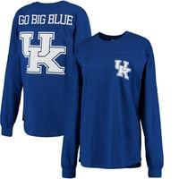 Kentucky Wildcats Pressbox Women's Team Logo The Big Shirt Oversized Long Sleeve Shirt - Royal