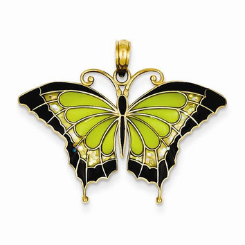 14k Gold Green Stained Glass Wings Butterfly Pendant