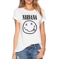 HOT Sell NIRVANA Smile Pattern Printed T-Shirts Women Summer O-Neck Casual Wear Short Sleeve Tops