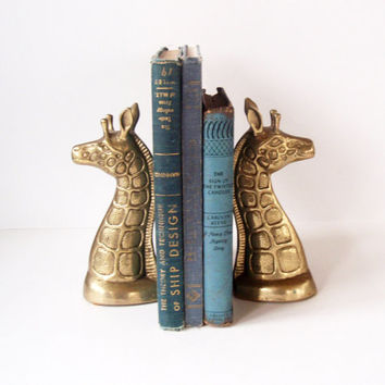Super Cute Brass Giraffe Bookends-Giraffe Figurine Statue- Mid Century Hollywood Regency Decor- MCM Library Decor- African Safari- Kids Room