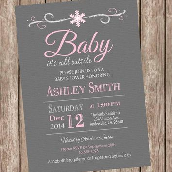 Baby it's cold outside baby shower invitation, winter baby shower, snowflake, gray and pink, girl winter, printable invitation sf3