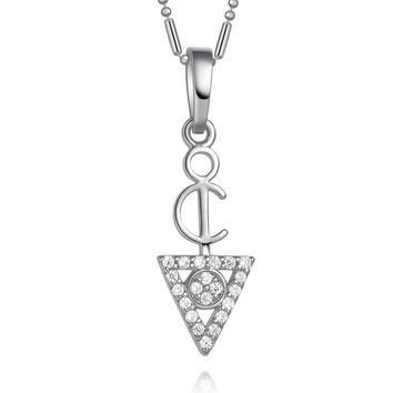 Tiny Ancient Protection Powers Amulet Triangle Pyramid Energies Silver-Tone Crystals Necklace