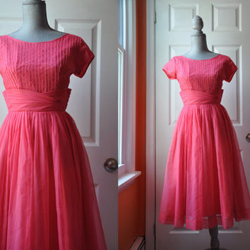 Vintage 1950s dress | pink organza 50s party dress •  Sweet Tea dress