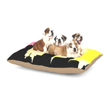 "Infinite Spray Art ""Skylined"" Pink Yellow Dog Bed"