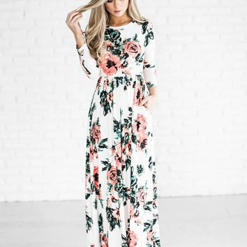 Chicloth Round Neck Long Sleeve Floral Super Long Maxi Dress
