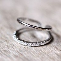 Double Lines Crystal Knuckle Ring Adjustable Small Ring Unique Funny Ring