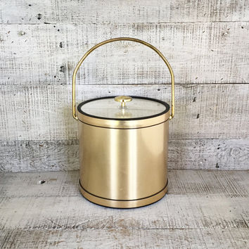 Ice Bucket Mid Century Modern Ice Bucket Vintage Brass Barware Hollywood Regency Ice Bucket Glam Barware Bar Cart Gold Ice Cooler