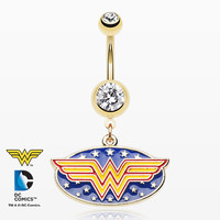 Golden Retro Wonder Woman Belly Button Ring