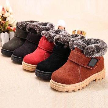 Yeafey Kids Winter Fashion Child Leather Snow Boots For Girls Boys Warm Martin Boots C