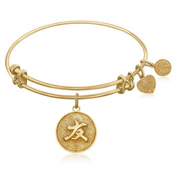 Expandable Bangle in Yellow Tone Brass with Chinese Friendship Bond Symbol
