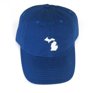 Michigan Hat - Classic Dad Hat - Silver on Royal Blue - All States Available