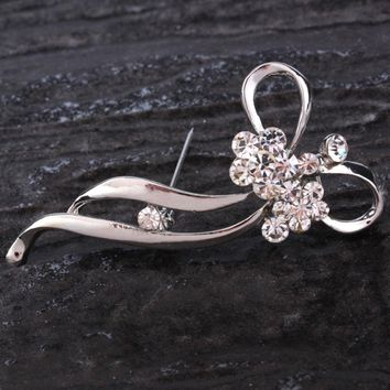 Bow Brooch Pin Clear Rhinestone Crystal