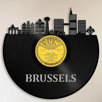 Brussels Art, Brussels Skyline, 60th Birthday Gift For Men, Gift For 60th Wedding Anniversary, Gift For 30th Anniversary, Unique Custom Gift