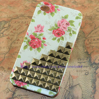Antique brass stud Iphone case, Flower Rose Iphone 4 Case, Iphone 4S case, Hard Case Cover