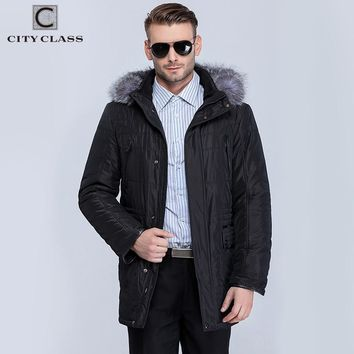 New Thick Warm Winter Jacket Men Overcoat Fashion Casual Removable Silver Fox Hat