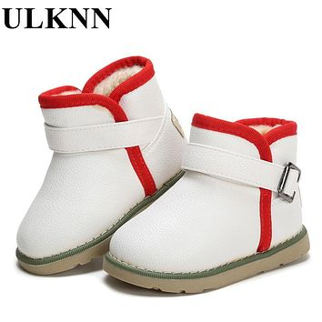 ULKNN Winter Children Shoes Boys Girls Boots Rubber Ankle Genuine Leather Fur Warm Waterproof Non-slip Snow Shoes For Kids