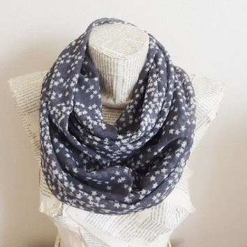 Star Infinity Scarf Gray, Grey Tulle Circle Loop Gray Lightweight Cosmo Galaxy
