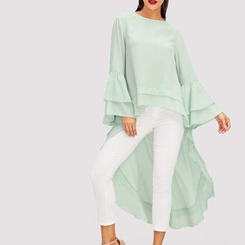 Tiered Ruffle Trim High Low Blouse