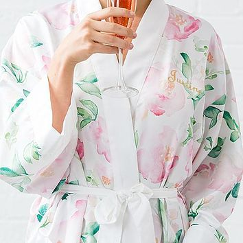 Pink Watercolor Floral Silky Kimono Robe on White Large - X-Large (Pack of 1)