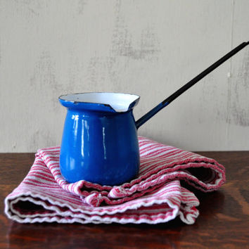 Vintage Enamel Butter Warmer, Small Blue and White Pot with Pour Spout, Made in Poland, Turkish Coffee Pot