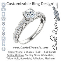 Cubic Zirconia Engagement Ring- The Melody (Customizable Center Stone with Pave and Filigree)